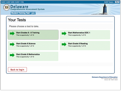 Student Interface - Selecting a Test